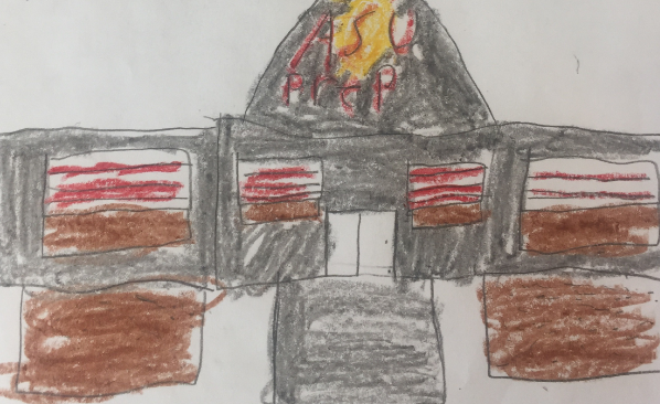 Students at ASU Prep drew their favorite things about the school, like seeing the ASU sign on the building.